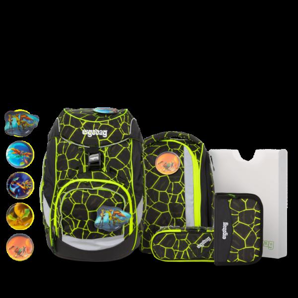 Übersicht Ergobag Pack 6-teiliges Schulrucksack-Set LUMI Edition DrachenfliegBär