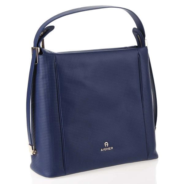 Aigner Alba Handtasche Leder Blau Deep Blue