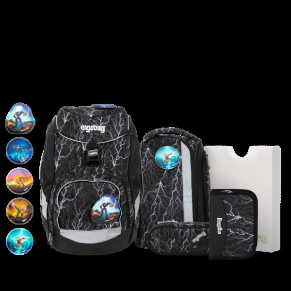 Übersicht Ergobag Pack 6-teiliges Schulrucksack-Set Super ReflektBär REFLEX GLOW Edition