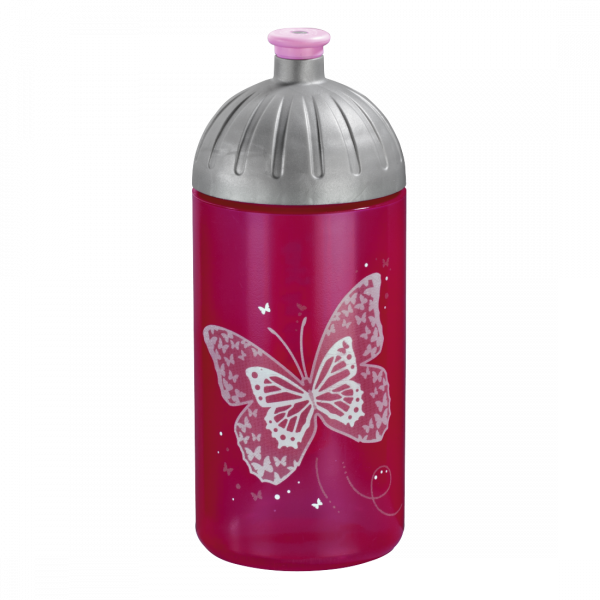 Step by Step Trinkflasche Shiny Butterfly Pink