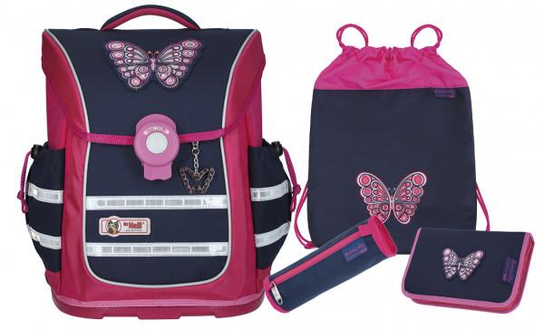 McNeill ERGO light Pure Schulranzen Set Butterfly 4tlg