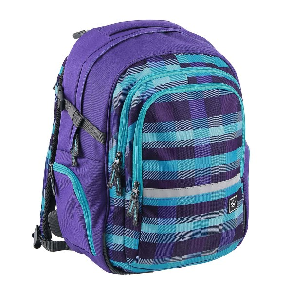 All Out by HAMA Schulrucksack Filby Summer Check Purple (138549)