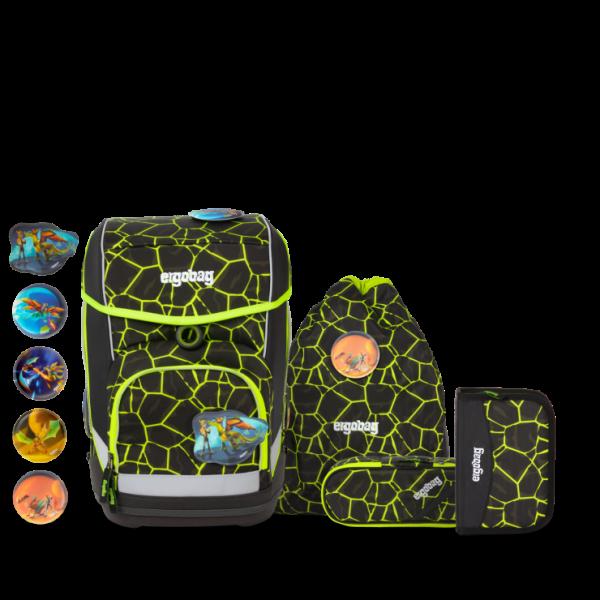 Übersicht Ergobag Cubo 5-teiliges Schulranzen-Set LUMI Edition DrachenfliegBär