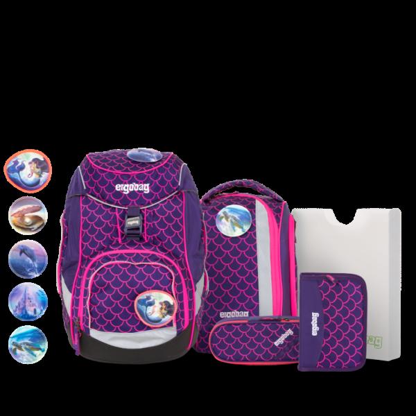 Übersicht Ergobag Pack 6-teiliges Schulrucksack-Set LUMI Edition PerlentauchBär