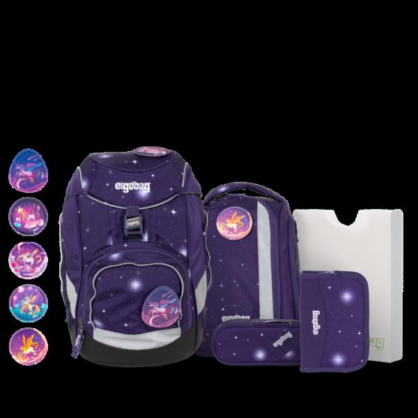 Übersicht Ergobag Pack 6-teiliges Schulrucksack-Set Bärgasus REFLEX GLOW Edition