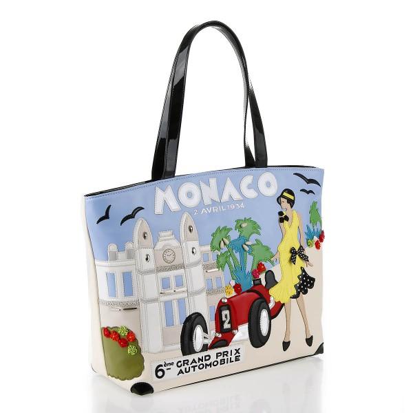 Braccialini Linea Tua Cartoline Shopper Leder Monaco