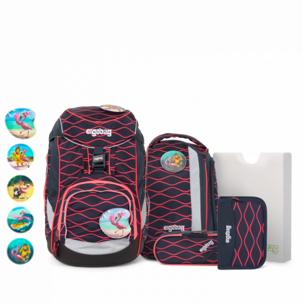 Übersicht Ergobag Pack 6-teiliges Schulrucksack-Set LUMI Edition WellenreitBär